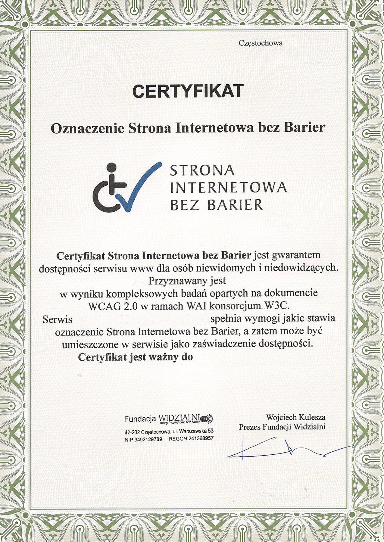 Wzór certyfikatu Strony Internetowej Bez Barier